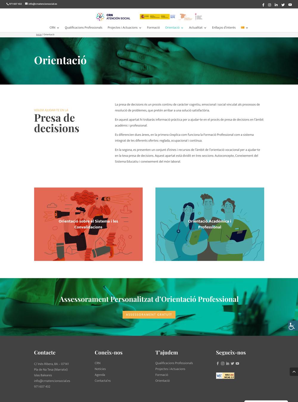 Diseño Página Web en WordPress para CRN Atención Social | Xisca Camps